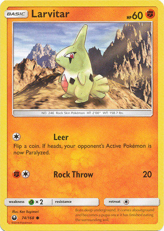 POKEMON Single Card SUN AND MOON - CELESTIAL STORM - 074/168 : Larvitar