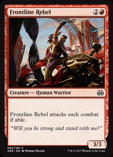 MAGIC THE GATHERING AETHER REVOLT Single Card - 082/184 : Frontline Rebel
