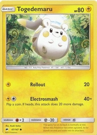 POKEMON Single Card SUN AND MOON - BURNING SHADOWS - 047/147 : Togedemaru