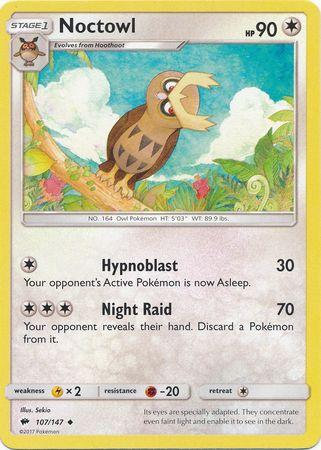 POKEMON Single Card SUN AND MOON - BURNING SHADOWS - 107/147 : Noctowl