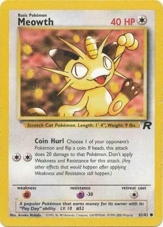 POKEMON Single Card TEAM ROCKET - 62/82 : Meowth