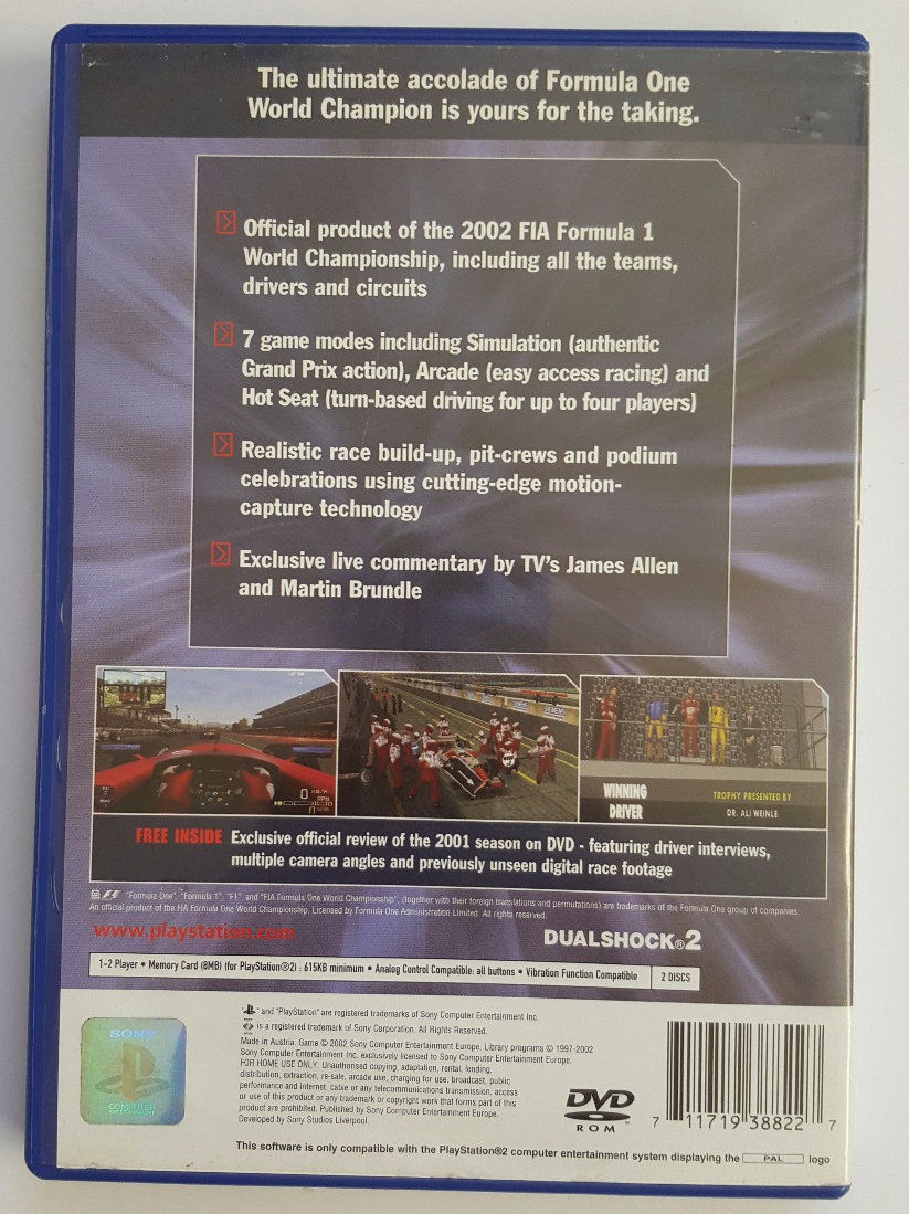 Formula One 2002 for Sony Playstation 2 PS2