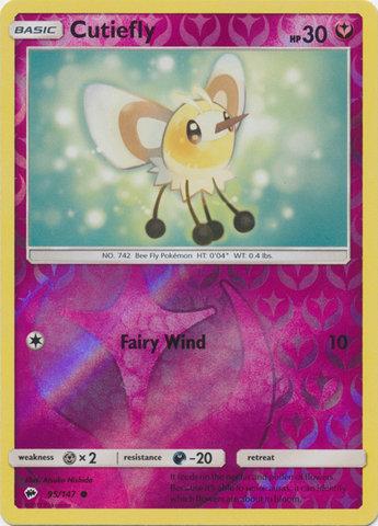POKEMON Single Card SUN & MOON - BURNING SHADOWS (Reverse Holo) 95/147 Cutiefly