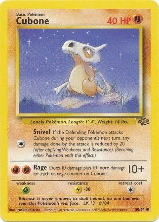 POKEMON Single Card JUNGLE (Unlimited) - 50/64 : Cubone