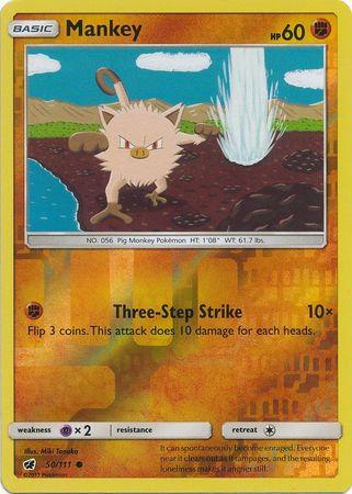 POKEMON Card SUN AND MOON - CRIMSON INVASION (Reverse Holo) - 050/111 : Mankey