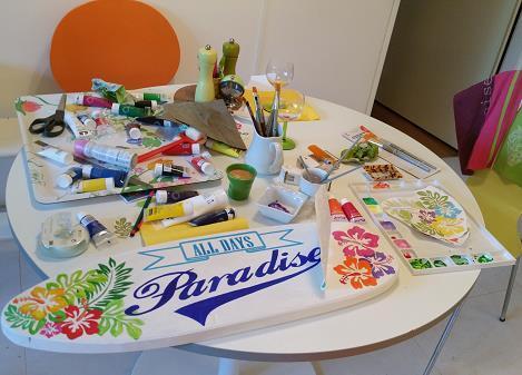 atelier de peinture avrylique motifs peints et découpés