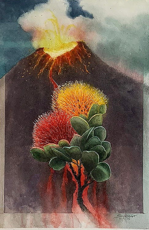 Ohia with Volcano Rising
