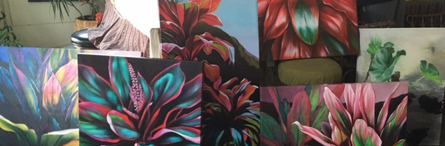 A variety of original Ti Leaf paintings
