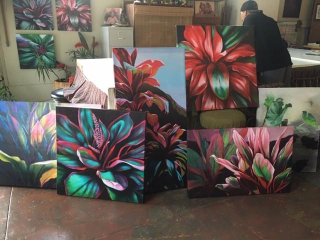 A variety of original Ti Leaf paintings