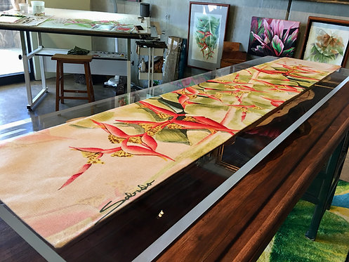 """Draping Heliconia"" Table Runner"