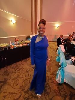 Blue over shoulder Evening Gown