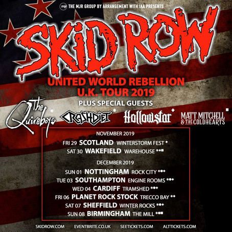 "SKID ROW embark on ""United World Rebellion"" UK tour (Nov/Dec)"