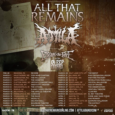 SLEEP SIGNALS on tour with ALL THAT REMAINS, ATTILA and ESCAPE THE FATE
