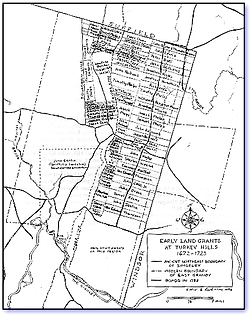 Early Land Grants at Turkey Hills,1672–1723 Map