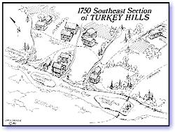 Southeast Section ofTurkey Hills, 1750 map