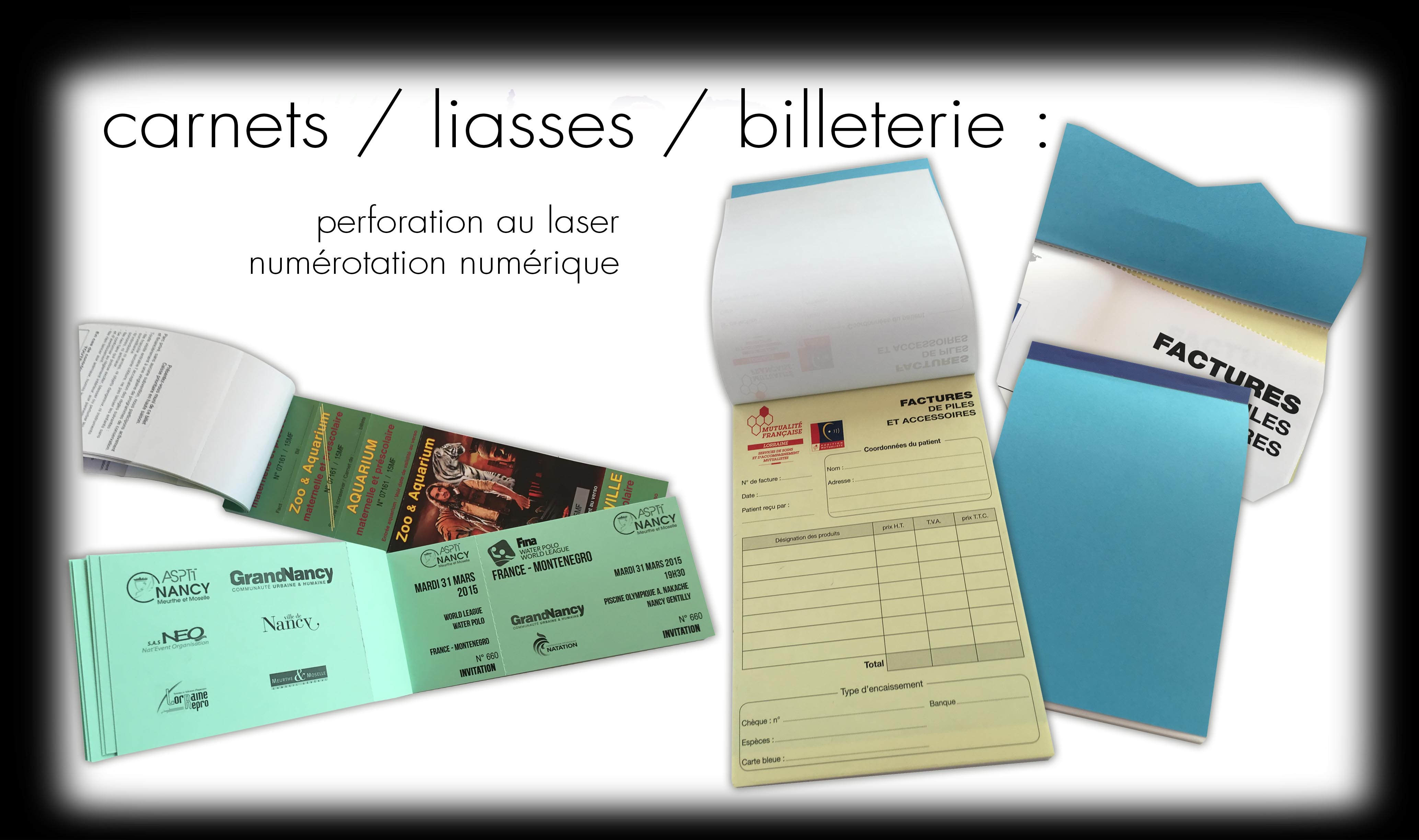 carnets / liasses / billeterie