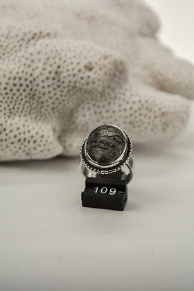 Ring zilver, met leopard skin jaspis, uit eigen atelier