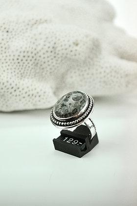 Ring zilver met leopard skin jaspis, eigen atelier