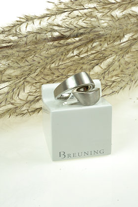 Ring zilver, Breuning, gematteerd, omgeslagen krulvorm, model Breuning 82690