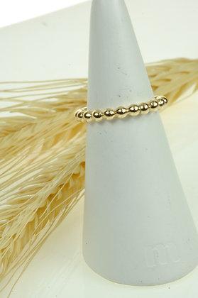 Ring zilver/goldfilled, bolletjes, model Jéh 19757