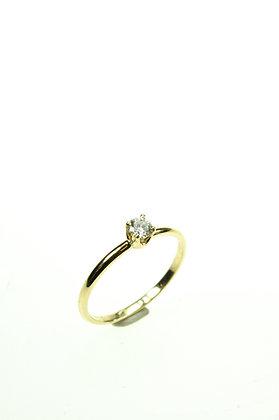 Ring 14 karaat geelgoud, solitair met briljant 0,22 crt. Wesselton Piqué