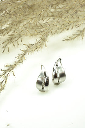 Klapcreolen zilver 1e. gehalte, Breuning, golvende vormen