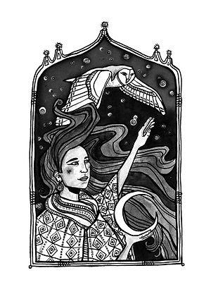 New Moon illustration from MIRACULOUS SILENCE by Mitra Rahbar, illustrated by Lauren Sebastian