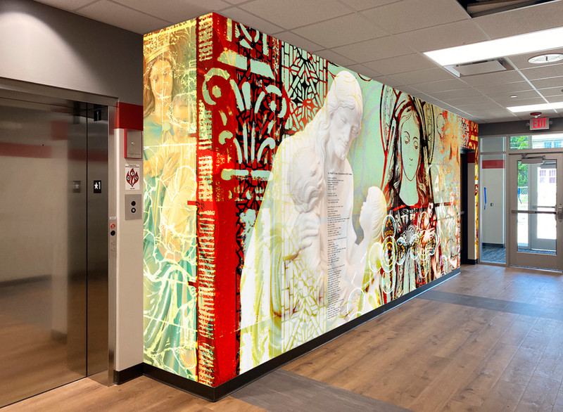 Sacred Hearts mural, installed