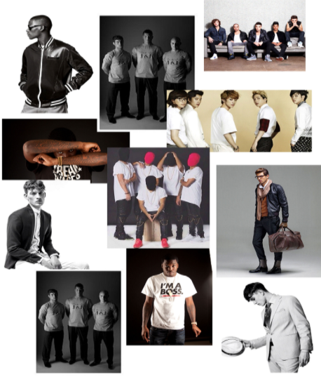 A mood board for a photoshoot for male models, urban photoshoot, snapbacks, dance groups, boy bands,