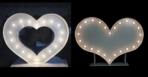 Light Up Love Letters wood 1.2 meters in white wood