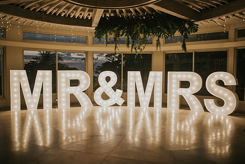 Mr & Mrs Light up letters 1.5 meter in white for hire Bali