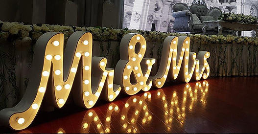 Cursive white Light up Love Letters for hire in Bali