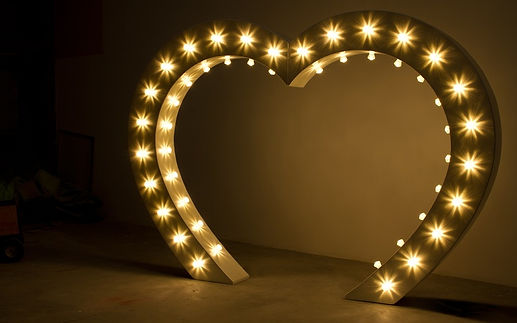 Light up love heart arch for hire in white