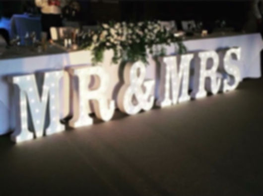 Mr & Mrs Light up letters 60 cm in white for hire Bali