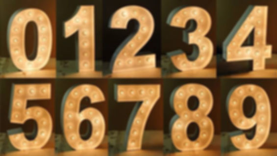 Light up numbers for hire 1.5 meter white