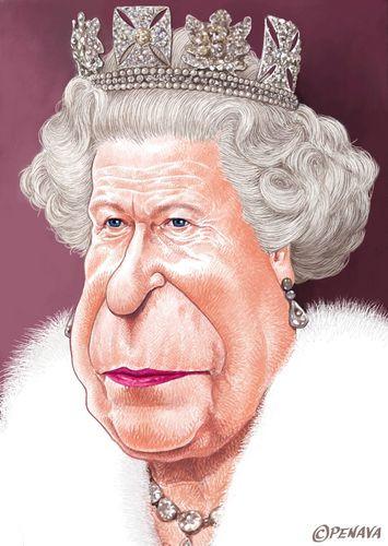 Erzsébet királynő - karikatúra