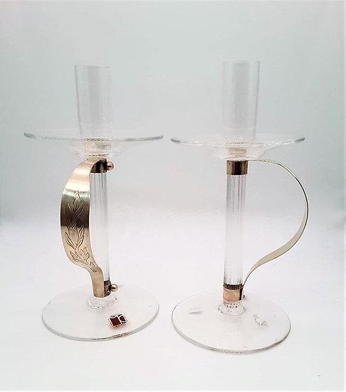 Coppia Candelieri  vetro Murano  Designer Moretti