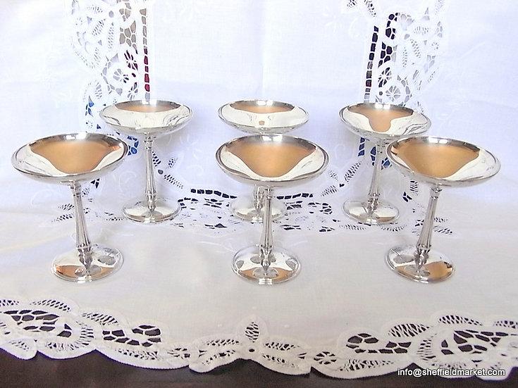 Splendide 6 coppe da champagne / gelato argento 800