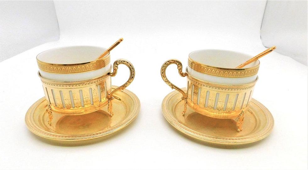 Coppia tazze argento / porcellana
