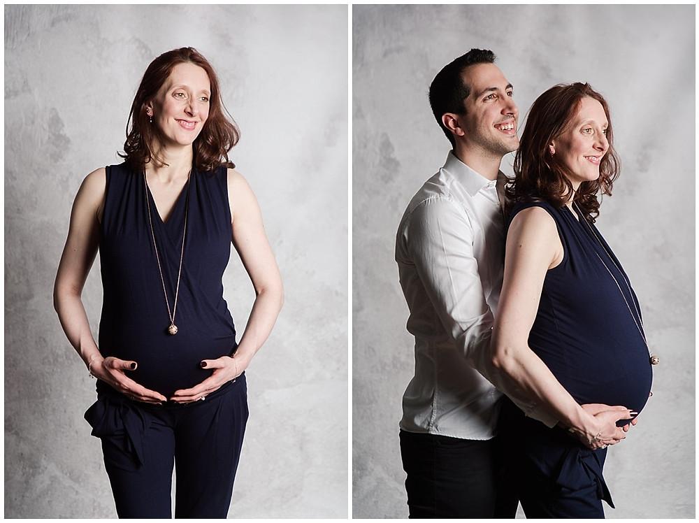 Séance photo grossesse Louviers : portrait d'une femme enceinte et de deux futurs parents.