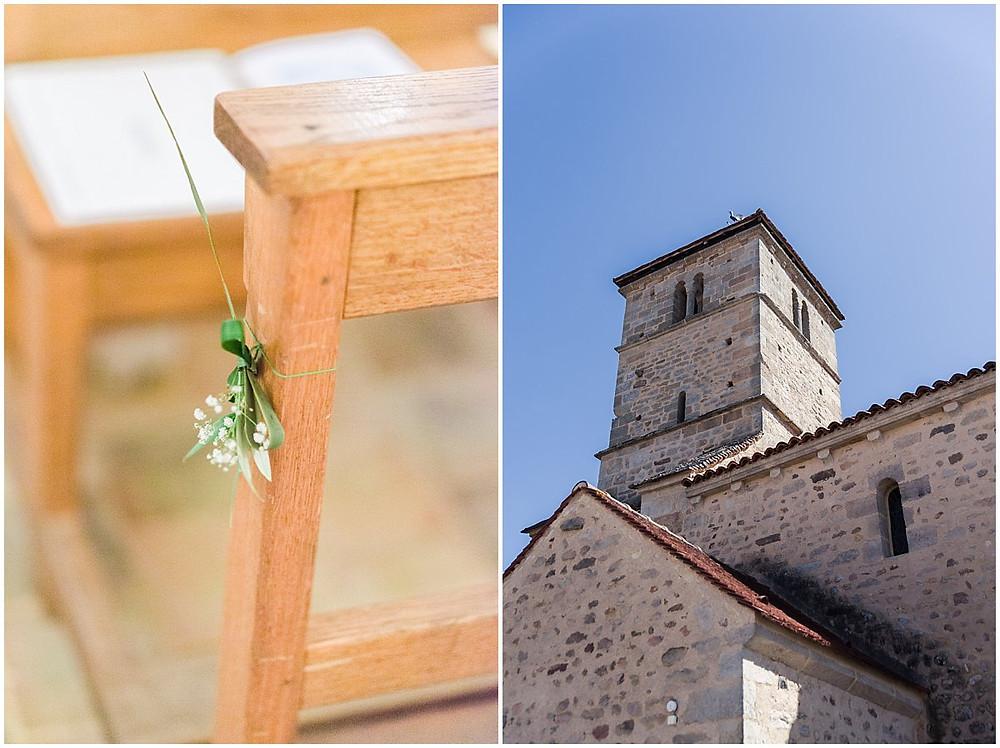 Sur ces images, on peut voir l'église ainsi que sa décoration lors d'un mariage religieux en Bourgogne.