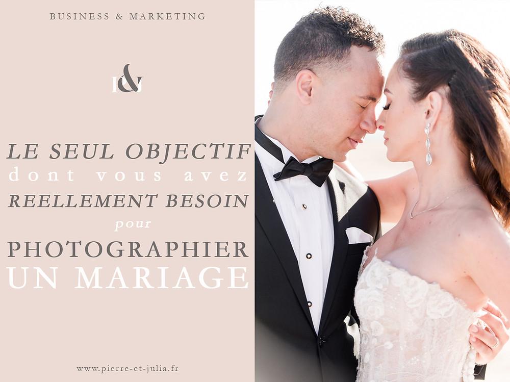 """Sur cette image, on peut voir le texte """"le seul objectif dont vous avez réellement besoin pour photographier un mariage"""" ainsi qu'une photo de couple de mariés. Les deux mariés se tiennent l'un face à l'autre, très proche, et se câlinent. Le marié porte un smoking noir avec un nœud papillon, la mariée porte une robe bustier avec de la dentelle."""