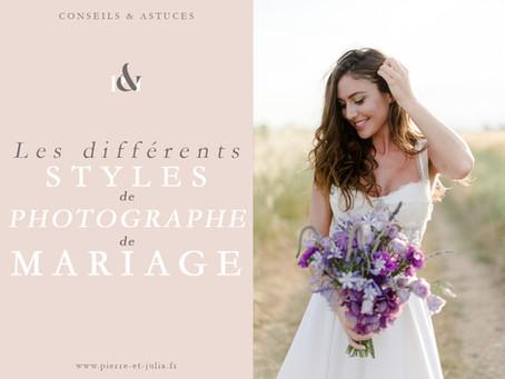 Les différents styles de photographe de mariage