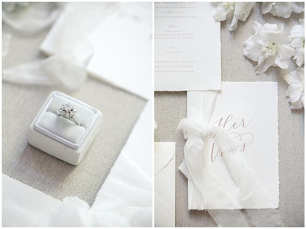 Photo de la papeterie de mariage, mariage au Château de Sénéguier en Provence.Il s'agit d'une papeterie très élégante et blanche.
