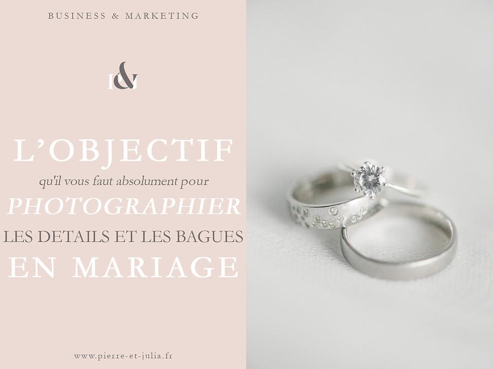 """Sur cette image, on peut voir une photo d'une bague de fiançailles et de deux alliances, ainsi que du texte qui indique """"l'objectif qu'il vous faut absolument pour photographier les détails et les bagues en mariage""""."""