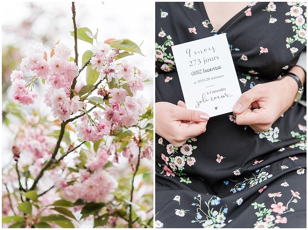 Séance grossesse au parc de sceaux, cerisiers en fleurs.