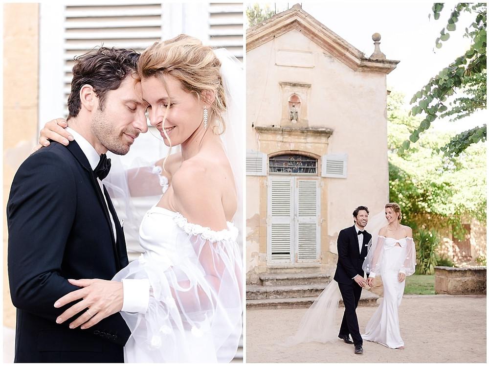 photographe mariage château de sénéguier : photo de couple dans le parc du château