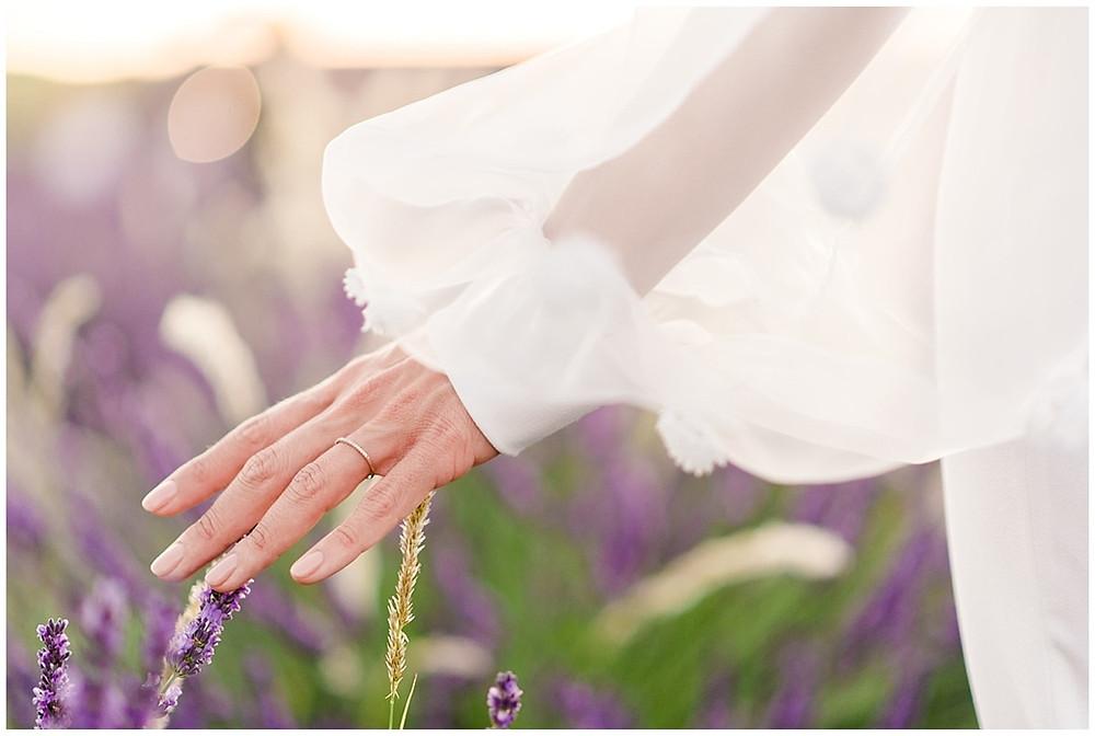 main de la mariée dans les champs de lavande