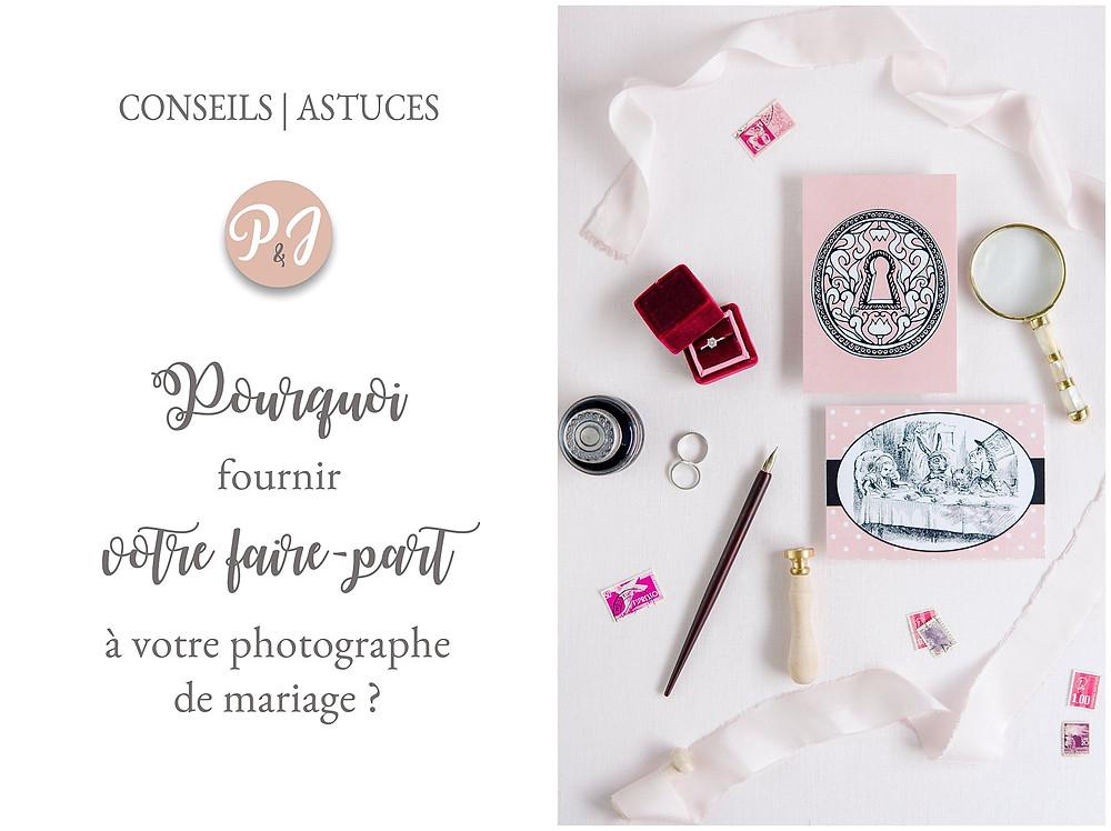 fournir votre faire-part à votre photographe de mariage