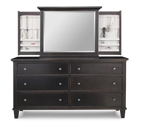 Georgetown 6 Drawer Long Dresser /w Jewellery Mirror